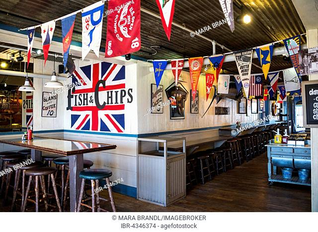 Fish and chips, restaurant on Pier 39, Fisherman's Wharf, Harbor, San Francisco, California, USA