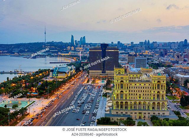 Azerbaijan , Baku City, Government House and Baku Bay