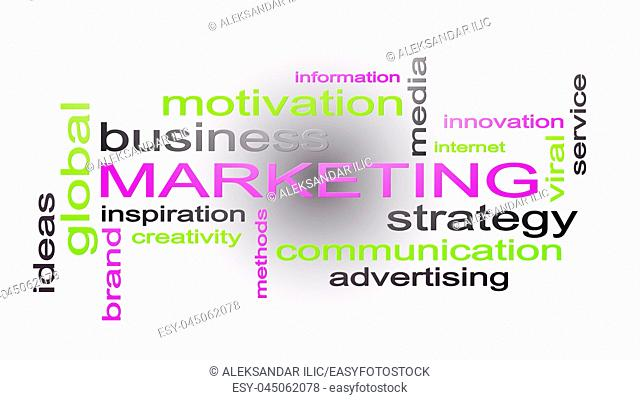 Marketing Business Strategy Word Cloud Text Concept 3D Rendering