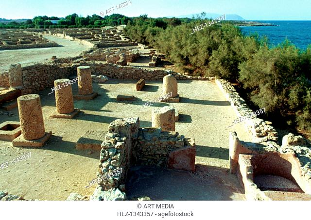 Coastal Roman ruins, Tunisia, 3rd century AD. Tunisia became part of the Roman Empire after the Battle of Carthage in 146 BC