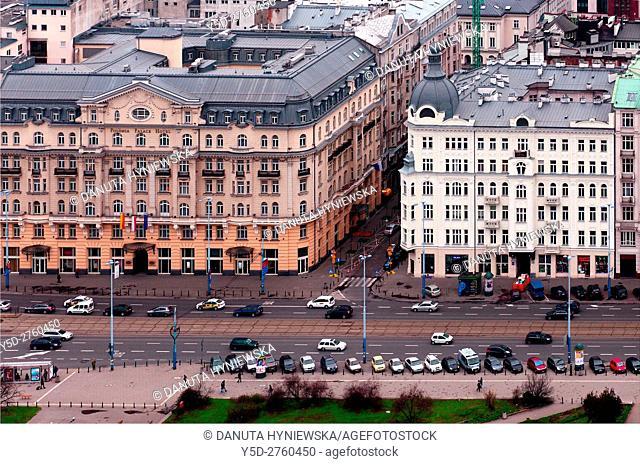 Srodmiescie - Downtown district, center of Warsaw, Aleje Jerozolimskie - Jerozolimskie Avenue, Historic Hotel Polonia Palace (1913) on left, Warsaw, Poland