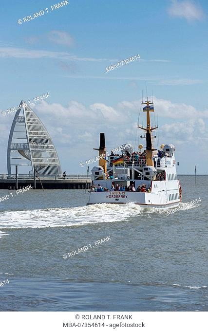 Germany, Lower Saxony, East Frisia, Juist, passenger ferry leaving the port