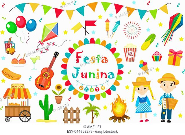 Festa Junina set icons, flat style. Brazilian Latin American festival, celebration of traditional symbols. Collection of design elements