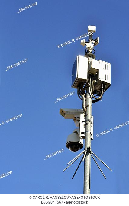 Big Brother is watching you. Suxrveillance camera from street in downtown Heerlen, NL