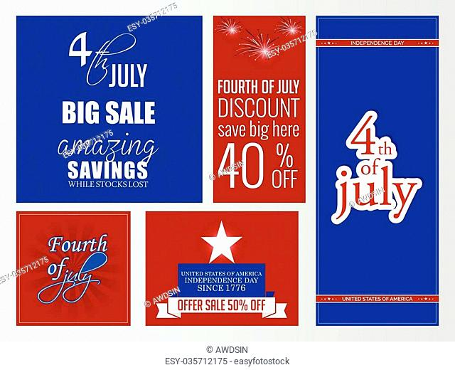 creative vector web banners for Fourth of July in a creative background