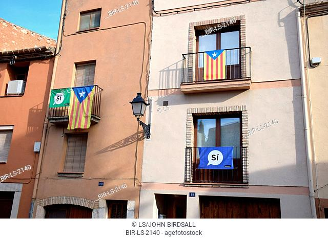 Catalonia, Spain Sep 2017. Montblanc. On 1 October Catalans will go to the polls to vote in a referendum on whether to secede from Spain and form an independent...