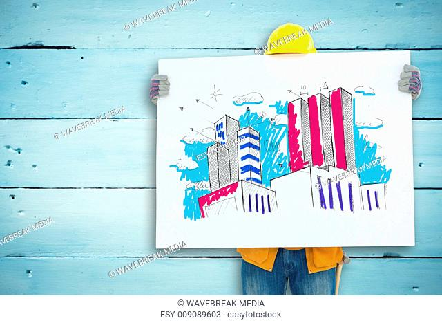 Composite image of technicial holding blank billboard