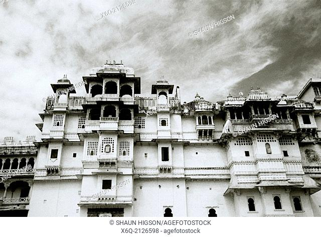 The City Palace in Udaipur in Rajasthan in India in South Asia
