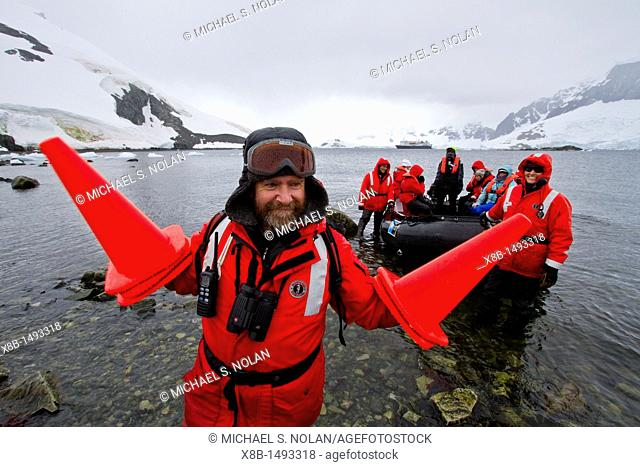 Staff from the Lindblad Expedition ship National Geographic Explorer shown here is Ian Bullock working in Antarctica  MORE INFO Lindblad Expeditions pioneered...