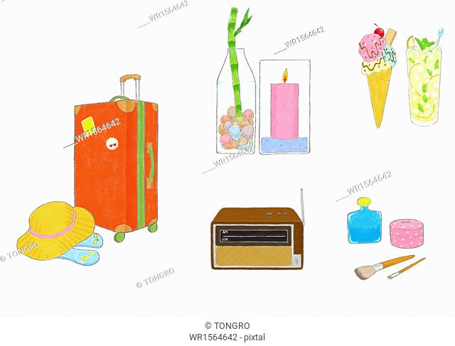 set of icons related to relaxation and travelling