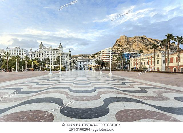 Iconic city point close to port, square puerta del mar. Alicante, Spain