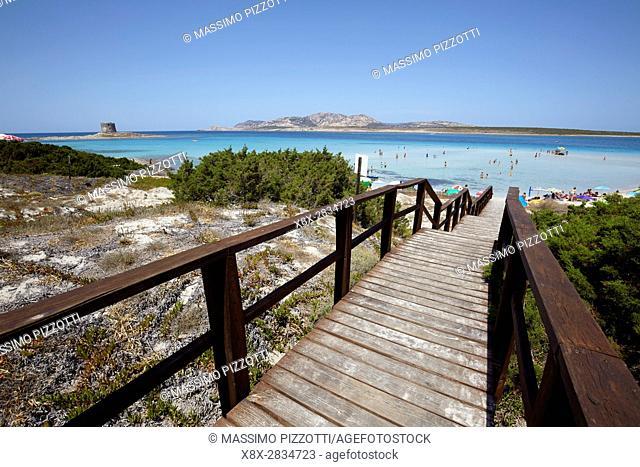 Footbridge to the beach of La Pelosa in Stintino, Sardinia, Italy