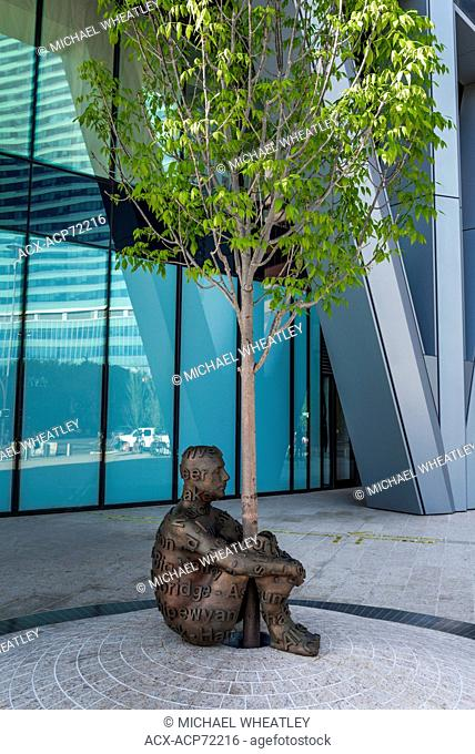 Sculpture titled 'Alberta's Dream' by Jaume Plensa, The Bow Tower, Calgary, Alberta, Canada
