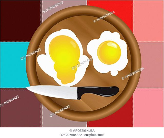 Colored squares dark and fried eggs