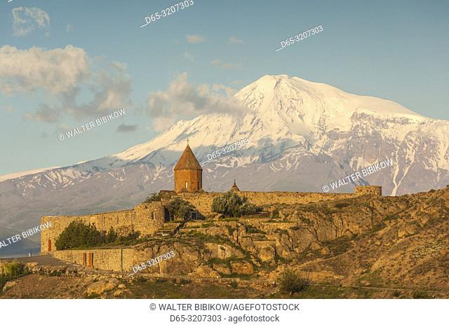 Armenia, Khor Virap, Khor Virap Monastery, 6th century, with Mt. Ararat, dawn