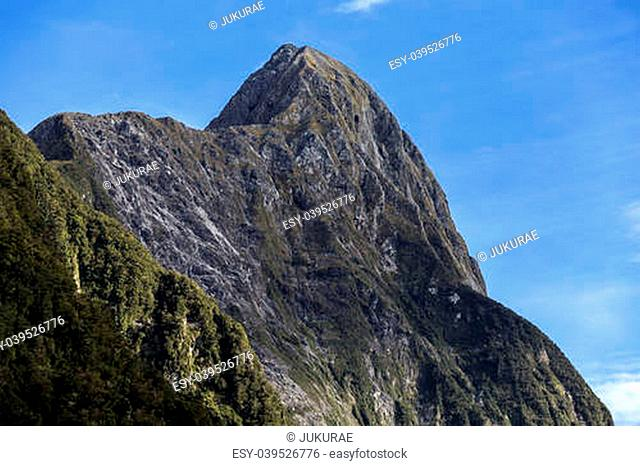 Mountain view of milford sound New Zealand