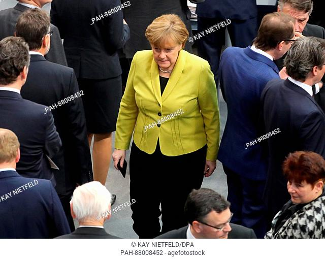 German chancellor Angela Merkel at the plenary hall in the Reichstags building in Berlin, Germany, 12 February 2017. The federal assembly has gathered for the...
