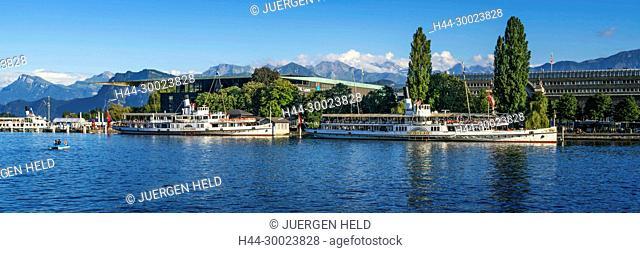 Steamships on the Lake Lucerne, KKL, Lucerne, Switzerland