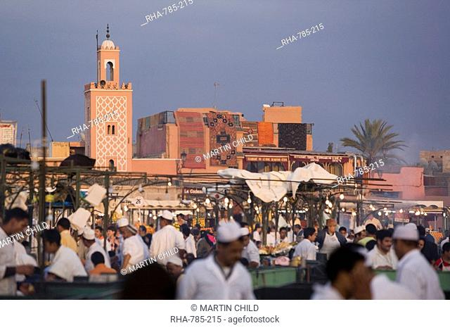 Open air restaurants on Place Jemaa el-Fna in the evening, Marrakech, Morocco, North Africa, Africa