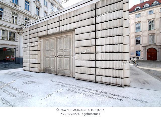 Holocaust Memorial Nameless Library, Judenplatz, Vienna, Austria  By Rachel Whiteread, unveiled on the anniversary of Kristal Nacht on 9 November 1999
