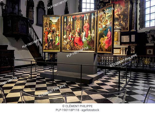 Triptych St John Altarpiece by Hans Memling in apse of the Sint-Janshospitaal / St John's Hospital in the city Bruges, West Flanders, Belgium