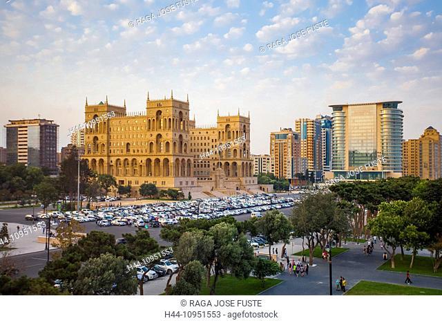Azerbaijan, Caucasus, Eurasia, Baku, Government, administration, architecture, avenue, city, downtown, house, park, skyline, sunset, travel, square, cars