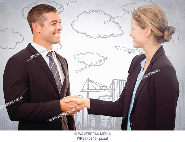 Business people shaking hands against white wall with 3d city doodle