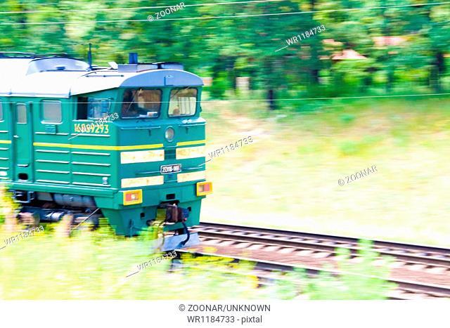 High-speed motion train on railway