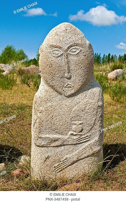 Central Asia, Kyrgyzstan, Issyk Kul Province (Ysyk-Köl), Issyk Kul Lake, Cholpon Ata, Petroglyphs site, a stele