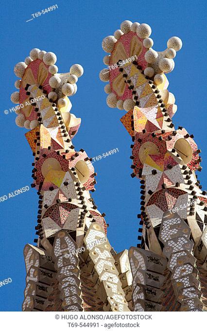 Detail of towers, Sagrada Familia temple by Gaudí, Barcelona. Catalonia, Spain