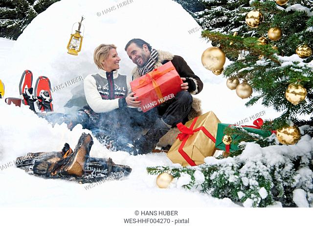 Austria, Salzburg County, Couple celebrating christmas in nature, smiling