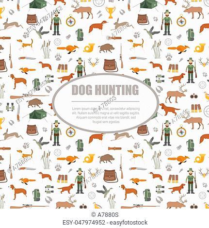 Hunting pattern. Dog hunting, equipment. Flat style. Vector illustration