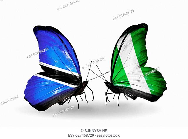 Two butterflies with flags on wings as symbol of relations Botswana and Nigeria