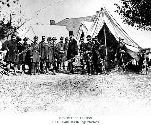 Abraham Lincoln at Antietam, (l-r) Col. Alexander S. Webb, Gen. George B. McClellan, Scout Adams, Dr. Jonathan Letterman, OCtober 3, 1862