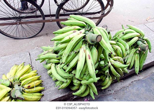 Bananas on traditional street market in India