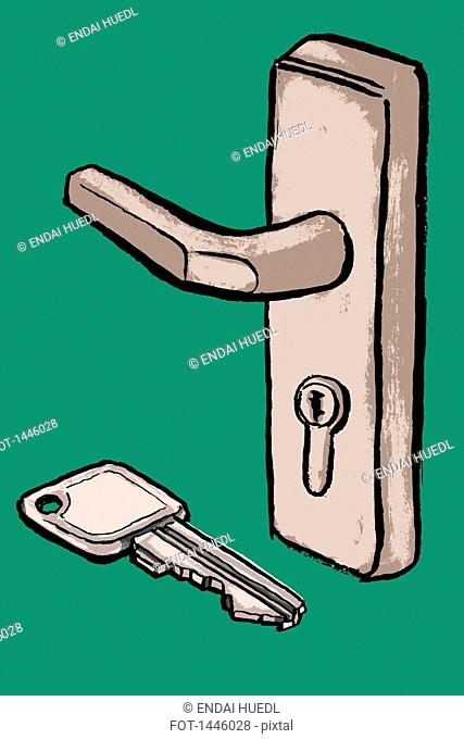 Illustration of key and door handle against green background