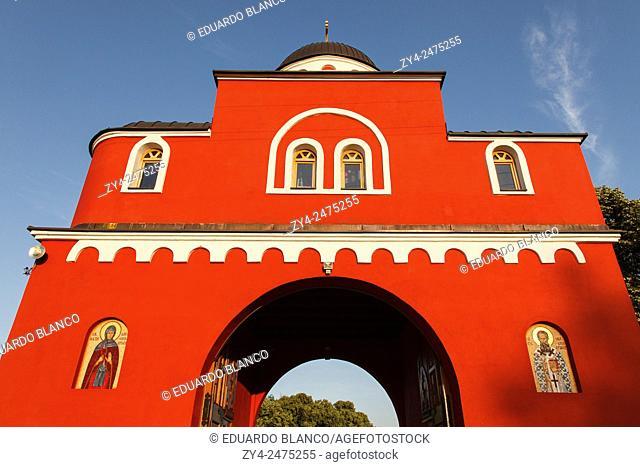 Main gate of Krusedol Monastery in Fruska Gora mountain in the northern Serbia, in the province of Vojvodina, SerbiaFruska Gora National Park, Europe