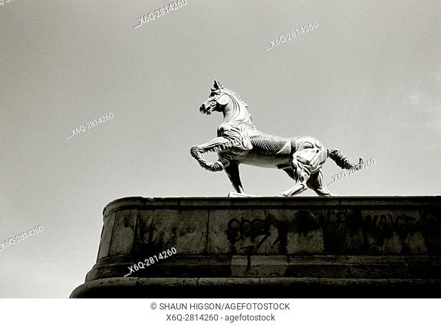 Equestrian sculpture outside the Palais des Arts in Marseille in Provence in Bouches du Rhone in France in Europe