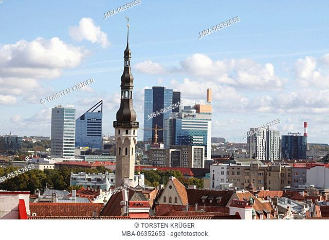 View of the cathedral mountain on the lower city, Old Town with city hall tower and high rises of the new town, Tallinn, Estonia, Europe