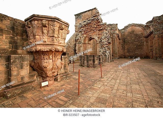 Pulpit, ruins former jesuit convent Trinidad Parana Paraguay South America