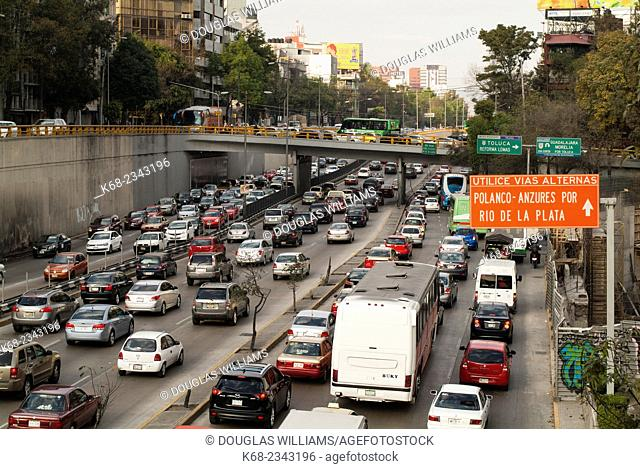 traffic in Mexico City, near Chapultapec park