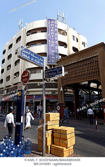 Entrance to the Gold Souk, Old Baladiya Road, Deira district, Dubai, United Arab Emirates, Middle East, Asia