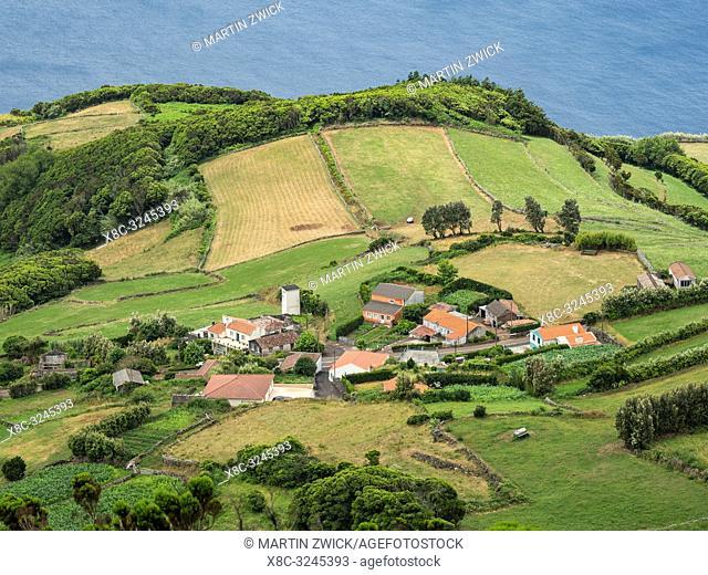 Landscape near Rosais. Sao Jorge Island, an island in the Azores (Ilhas dos Acores) in the Atlantic ocean. The Azores are an autonomous region of Portugal