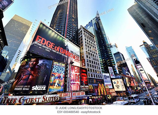 Theatre Billboards and Illuminated Signs on Broadway/7th Avenue, Times Square, Duffy Square, New York, City, NY, USA