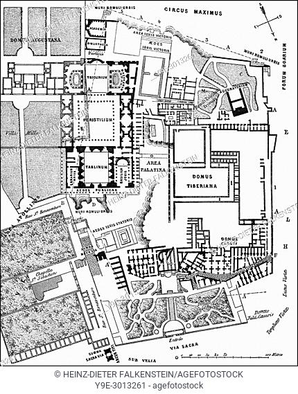 Plan of the excavations at Palatine Hill, Rome, Italy, 19th Century