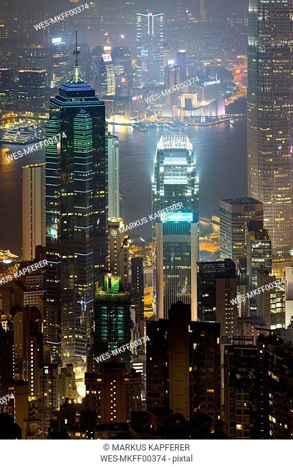 China, Hong Kong, Central and Tsim Sha Tsui at night