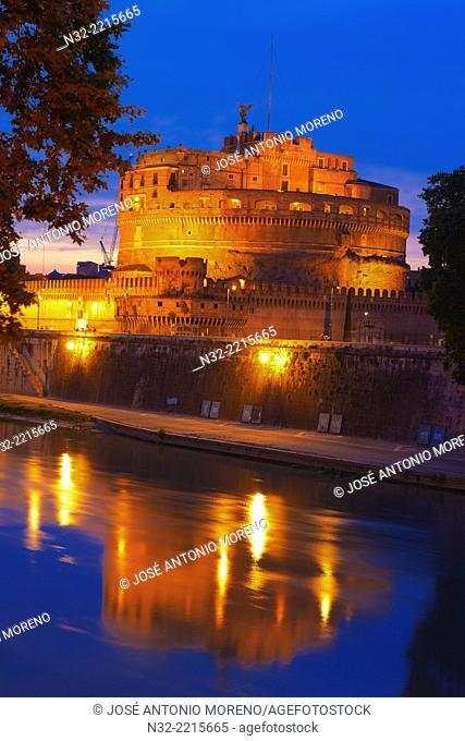 Castel sant Angelo, Tiber River, Sant Angelo Castel at Dusk, Mausoleum of Hadrian, Rome, Lazio, Italy
