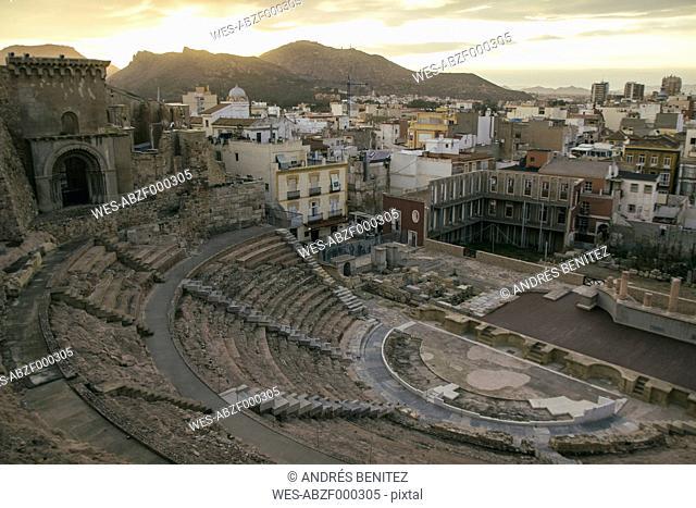 Spain, Murcia, Roman amphitheater in Cartagena