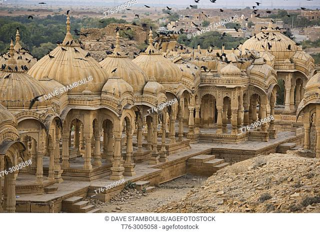 The cenotaphs of Bada Bagh at sunset, Jaisalmer, Rajasthan, India