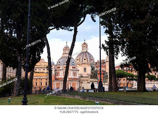 Roman sketch with two Baroque churches Trajan's Column: Santa Maria di Loreto and Santissimo Nome di Maria, Rome, Italy, Europe